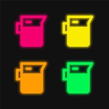 Beaker four color glowing neon vector icon stock vector