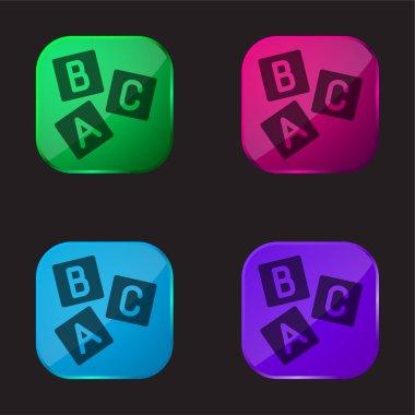 Brick Letters four color glass button icon stock vector