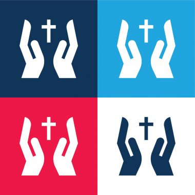 Bless blue and red four color minimal icon set stock vector