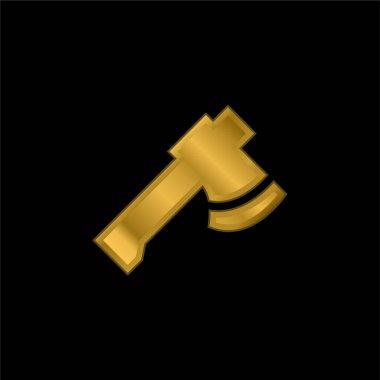Axe gold plated metalic icon or logo vector stock vector