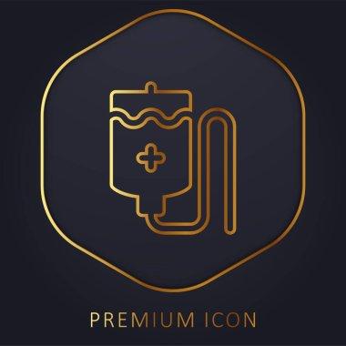 Blood Bag golden line premium logo or icon