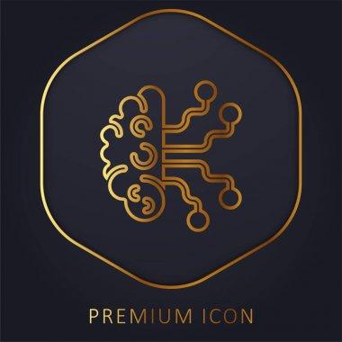 Artificial Intelligence golden line premium logo or icon stock vector