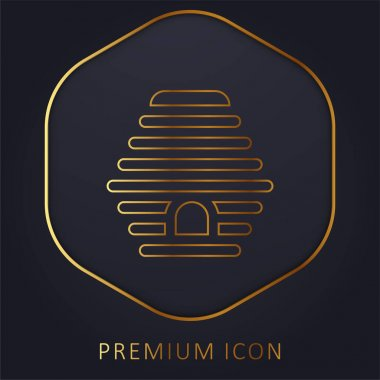 Beehive golden line premium logo or icon stock vector