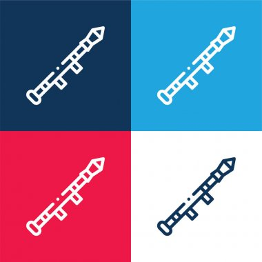 Bazooka blue and red four color minimal icon set stock vector