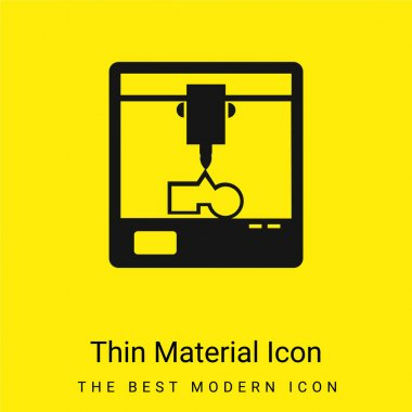 3d Printer In A Square Of A Window minimal bright yellow material icon stock vector