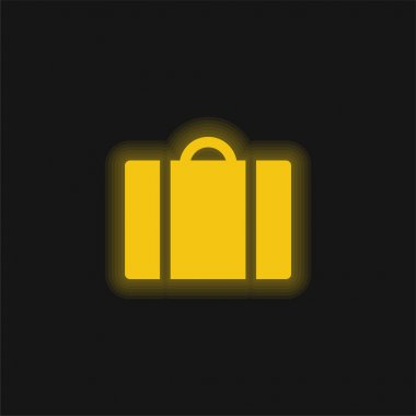 Baggage yellow glowing neon icon stock vector