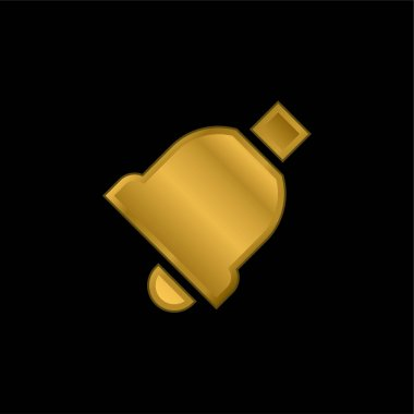 Bell gold plated metalic icon or logo vector stock vector