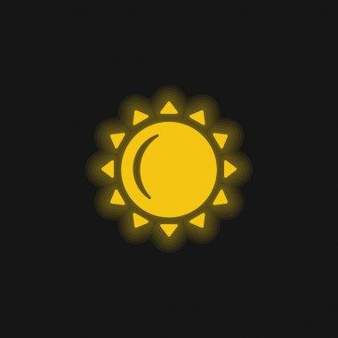 Big Sun yellow glowing neon icon stock vector
