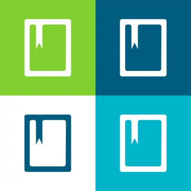 Book With Bookmark Flat four color minimal icon set stock vector