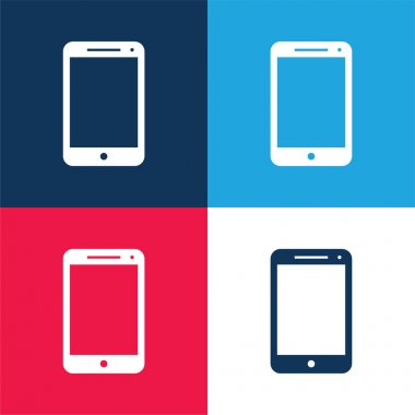 Big Screen Smartphone blue and red four color minimal icon set stock vector