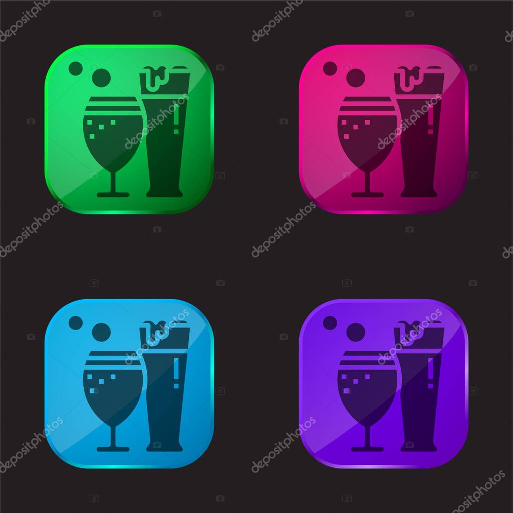Beer four color glass button icon stock vector