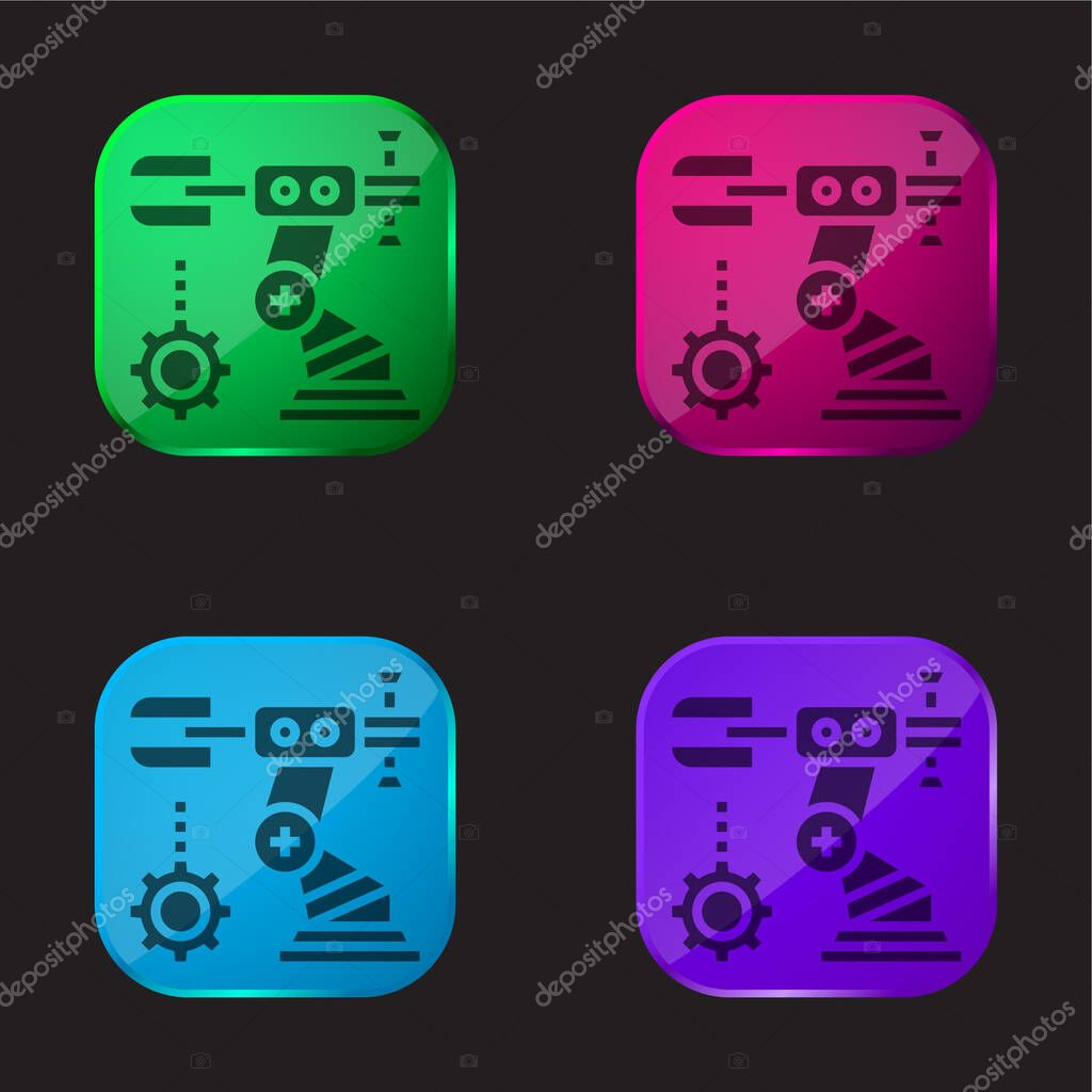 Assembly four color glass button icon stock vector