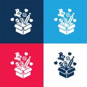Krabice modrá a červená čtyři barvy minimální ikona nastavena