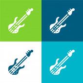 Basszusgitár lapos négy szín minimális ikon készlet