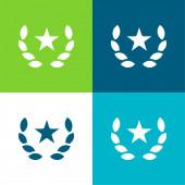 Award Flat four color minimal icon set