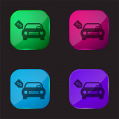 Brand New Car With Dollar Price Tag four color glass button icon