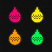 Cetka čtyři barvy zářící neonový vektor ikona