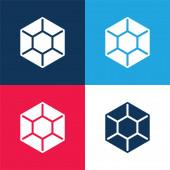 Big Diamond modrá a červená čtyři barvy minimální ikona nastavena
