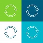 Arrows Ultrathin Circle Az óramutató járásával megegyező irányban Lapos négy szín minimális ikon készlet