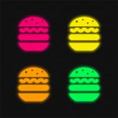 Big Hamburger čtyři barvy zářící neonový vektor ikona