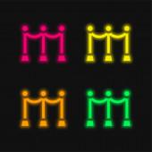 Akadály négy színű izzó neon vektor ikon