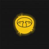 Baby Birds In A Hnízdo žluté zářící neon icon