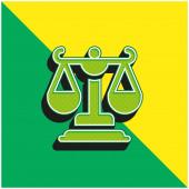 Balance Green and yellow modern 3d vector icon logo