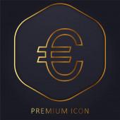 Velké logo nebo ikona zlaté čáry symbolu Euro