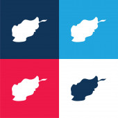 Afghanistan blue and red four color minimal icon set