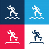 Beach Soccer Player Running With The Ball On The Sand blue and red four color minimal icon set