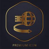 360 fokozatú arany vonal prémium logó vagy ikon