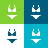 Bikini lakás négy szín minimális ikon készlet