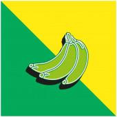 Bananen Grünes und gelbes modernes 3D-Vektor-Symbol-Logo