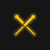 Akupunktura žlutá zářící neonová ikona