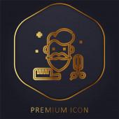 Beard golden line premium logo or icon