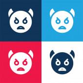 Rozzlobený modrá a červená čtyři barvy minimální ikona nastavena