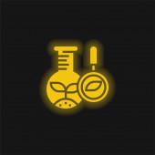 Biologie žlutá zářící neonová ikona