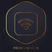 Apple golden line premium logo or icon