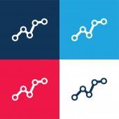 Vzestupně Business Graphic modrá a červená čtyři barvy minimální ikona nastavena