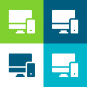 Adaptive Flat four color minimal icon set
