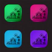 Pajta négy színű üveg gomb ikon