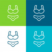Bikini Flat čtyři barvy minimální ikona nastavena