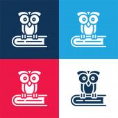 Kniha modrá a červená čtyři barvy minimální ikona nastavena