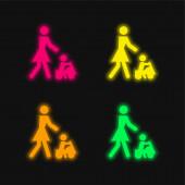 Baby spielt auf einem Spielzeugauto mit seiner Mutter vierfarbig leuchtende Neon-Vektorsymbol