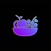 Jablko a hrozny na modrém vektoru gradient mísy