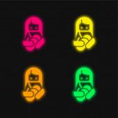 Stillen vier Farben leuchtenden Neon-Vektor-Symbol