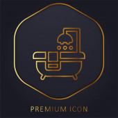 Badewanne goldene Linie Premium-Logo oder Symbol