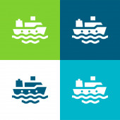 Loď Byt čtyři barvy minimální ikona nastavena