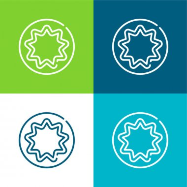Bahaism Flat four color minimal icon set stock vector