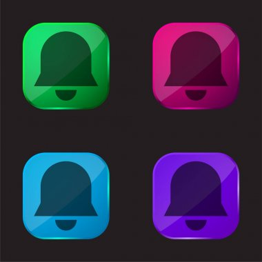 Bell four color glass button icon stock vector